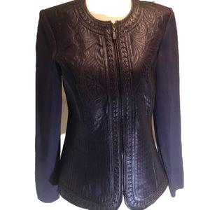 """PETER NYGARD"" Tooled Purple Leather /Knit Jacket."
